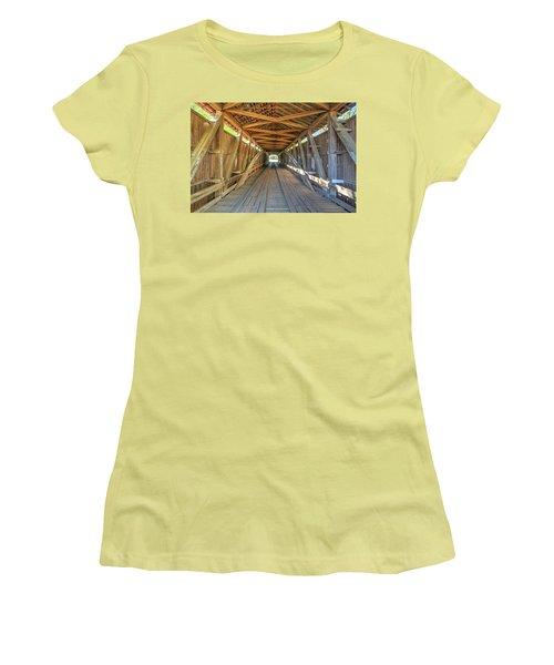 Women's T-Shirt (Junior Cut) featuring the photograph Interior View - Conley's Ford Covered Bridgee by Harold Rau