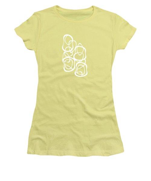 Interlocking - White On Coffee - Pattern Women's T-Shirt (Athletic Fit)