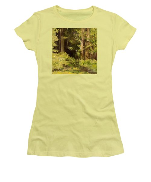 Women's T-Shirt (Athletic Fit) featuring the painting Into The Woods by Laurie Rohner