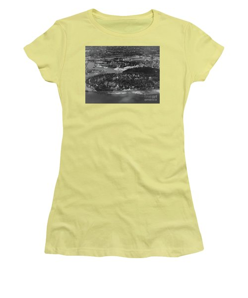 Women's T-Shirt (Junior Cut) featuring the photograph Inwood Hill Park Aerial, 1935 by Cole Thompson