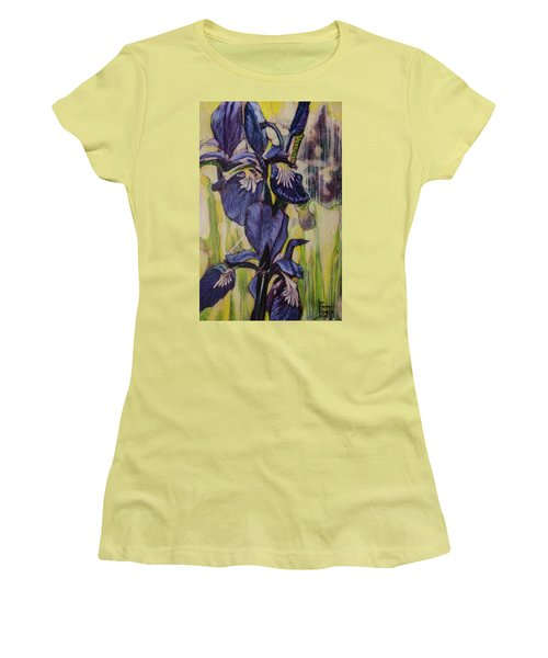 Women's T-Shirt (Junior Cut) featuring the painting Iris-2016 by Ron Richard Baviello