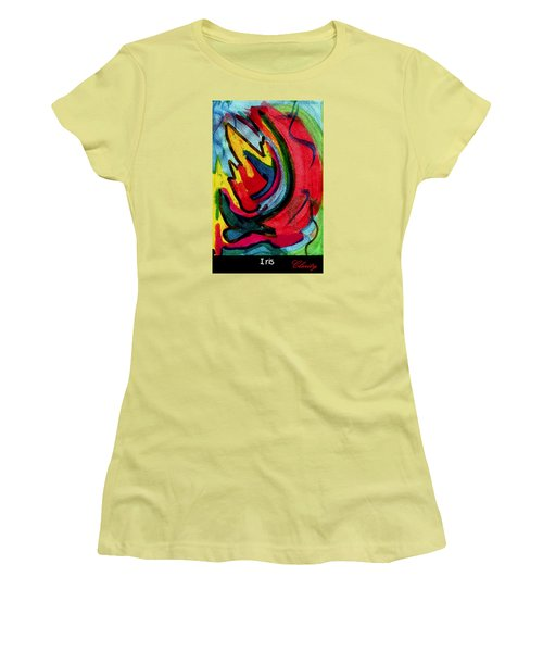 Women's T-Shirt (Athletic Fit) featuring the painting Iris by Clarity Artists