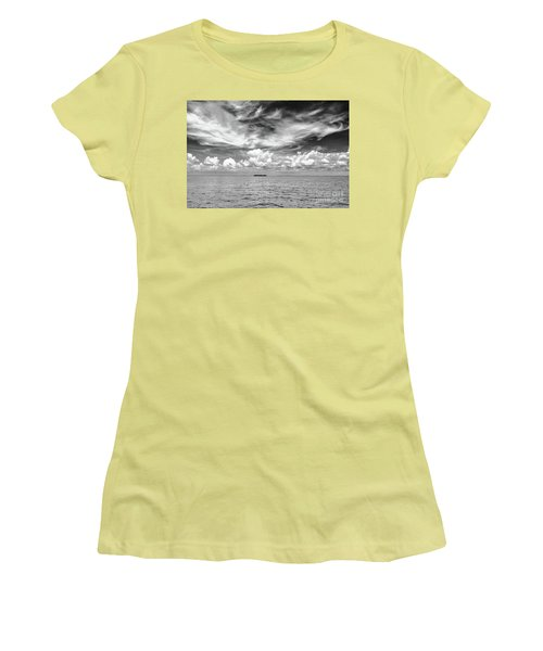 Island, Clouds, Sky, Water Women's T-Shirt (Athletic Fit)