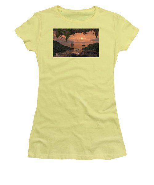 Women's T-Shirt (Athletic Fit) featuring the digital art Island Retreat by Mary Almond