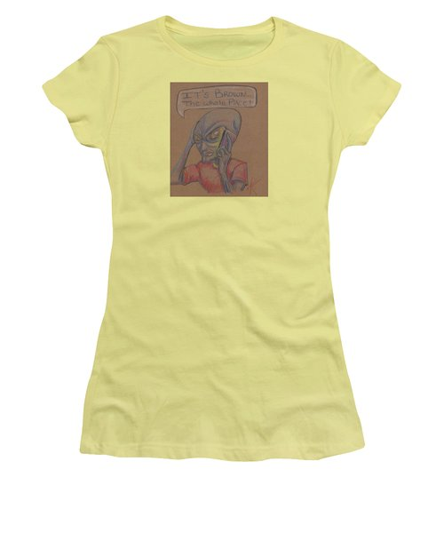 Women's T-Shirt (Junior Cut) featuring the drawing It's Brown by Similar Alien