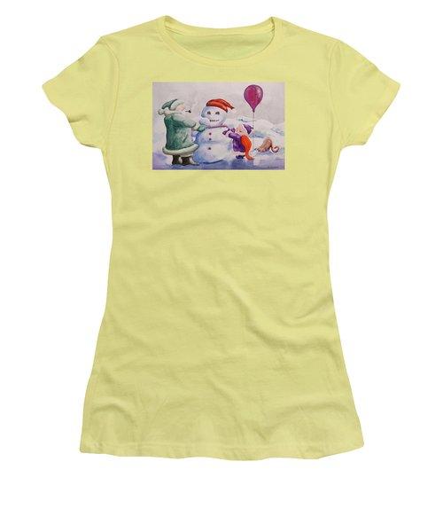 Women's T-Shirt (Junior Cut) featuring the painting It's Cold Grandpa by Geni Gorani