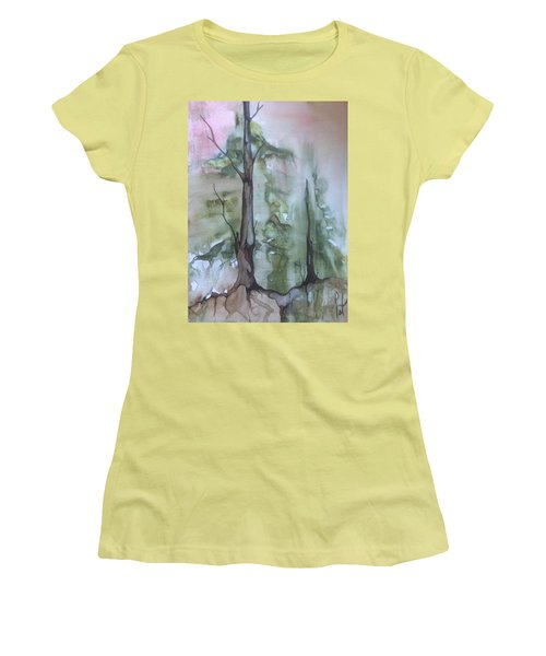Women's T-Shirt (Junior Cut) featuring the painting Jackfish Lake by Pat Purdy