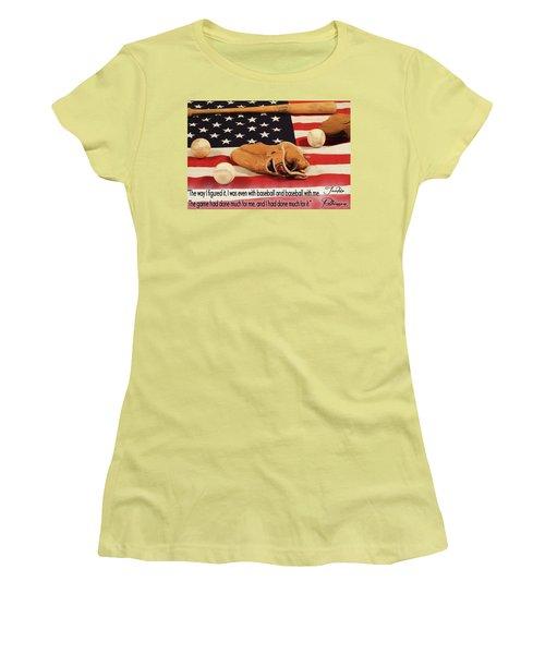 Jackie Robinson Baseball Quote Women's T-Shirt (Junior Cut) by Dan Sproul