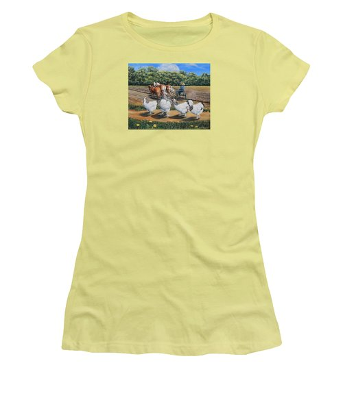 Jacobs Plowing And Light Bramah Chickens Women's T-Shirt (Junior Cut) by Ruanna Sion Shadd a'Dann'l Yoder