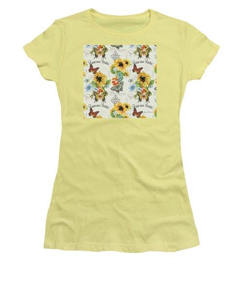 Women's T-Shirt (Junior Cut) featuring the painting Jaime Mon Jardin-jp3989 by Jean Plout