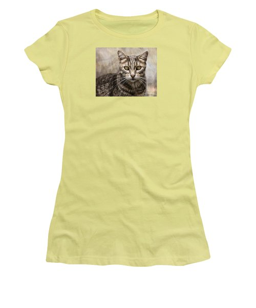 Women's T-Shirt (Junior Cut) featuring the digital art Janie's Kitty by Rhonda Strickland