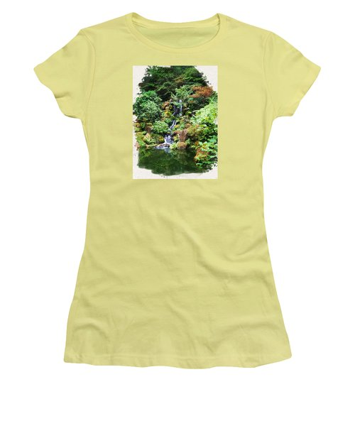 Japanese Garden Waterfall 2 Women's T-Shirt (Athletic Fit)
