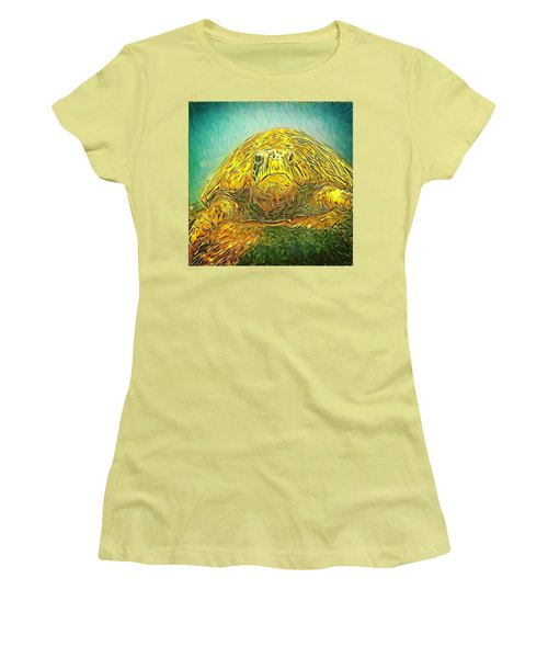 Women's T-Shirt (Junior Cut) featuring the digital art Jasmine The Turtle by Erika Swartzkopf