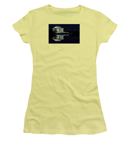 The Jefferson At Night Women's T-Shirt (Junior Cut) by Ed Clark