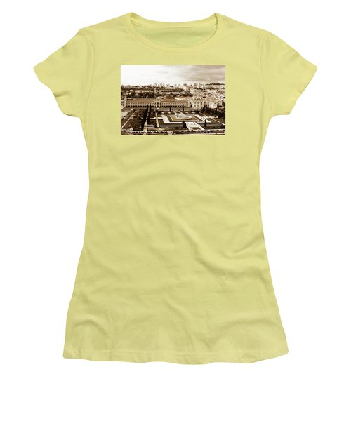 Jeronimos Monastery In Sepia Women's T-Shirt (Junior Cut) by Lorraine Devon Wilke