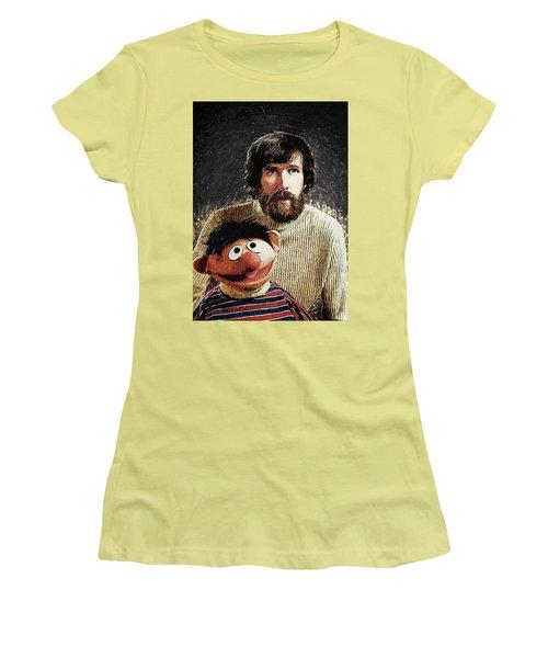 Women's T-Shirt (Junior Cut) featuring the digital art Jim Henson With Ernie by Taylan Apukovska