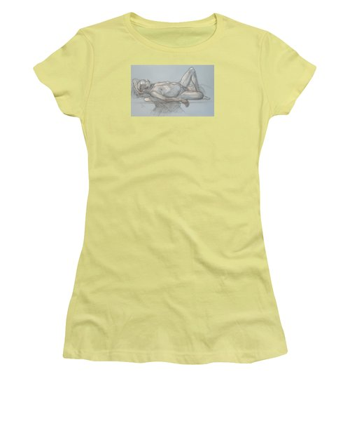 Women's T-Shirt (Junior Cut) featuring the drawing Joey Reclining #1 by Donelli  DiMaria