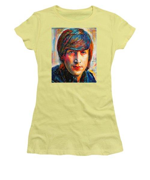 John Lennon Young Portrait Women's T-Shirt (Athletic Fit)