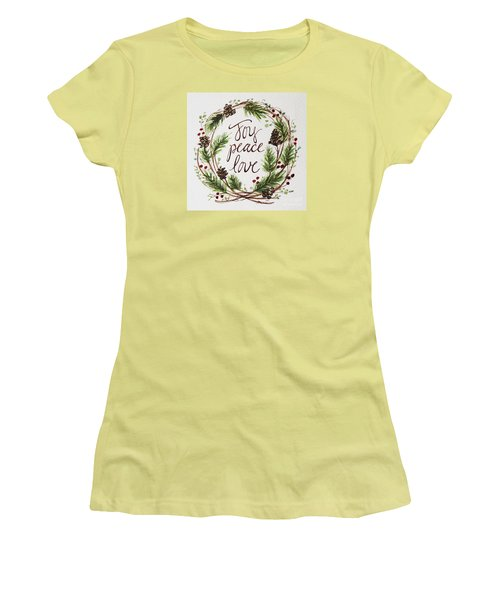 Women's T-Shirt (Junior Cut) featuring the painting Joy, Peace, Love by Elizabeth Robinette Tyndall