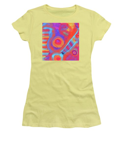 Women's T-Shirt (Junior Cut) featuring the painting Juicy Colored Abstract by Susan Stone