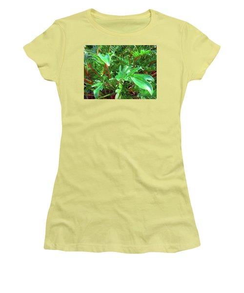 Jungle Greenery Women's T-Shirt (Junior Cut) by Ginny Schmidt