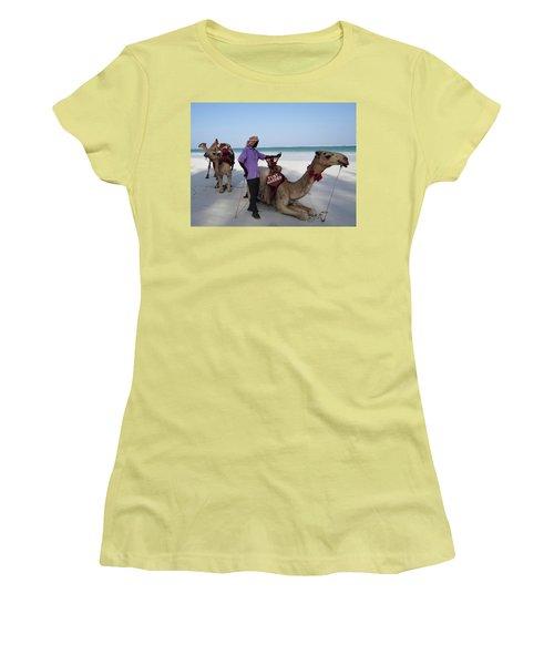 Just Married Camels Kenya Beach 2 Women's T-Shirt (Junior Cut) by Exploramum Exploramum