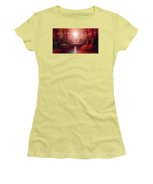 Kaleidoscope Forest Women's T-Shirt (Junior Cut) by Michael Rucker