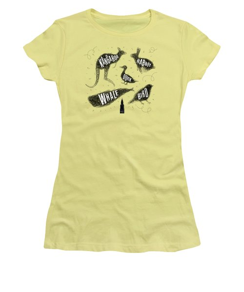Kangaroo - Rabbit - Duck - Whale - Bird In Black Women's T-Shirt (Junior Cut) by Aloke Creative Store