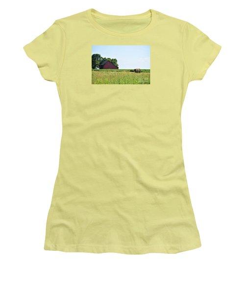 Women's T-Shirt (Junior Cut) featuring the photograph Kansas Barn by Mark McReynolds