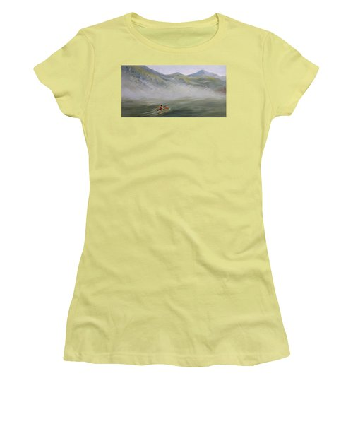 Kayaking Through The Fog Women's T-Shirt (Athletic Fit)