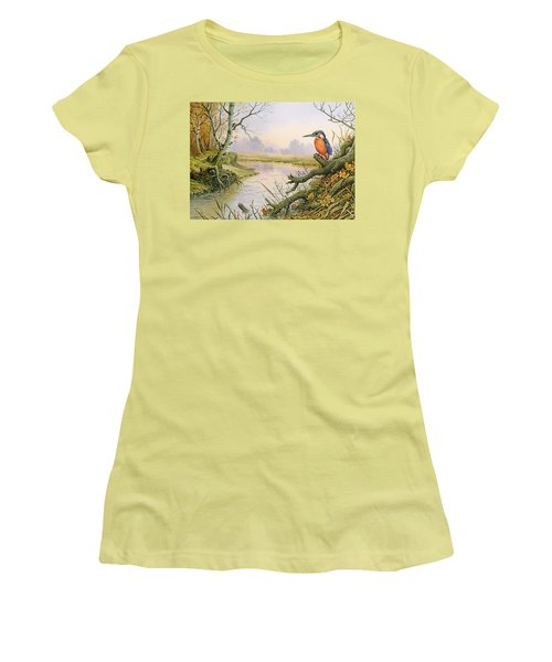 Kingfisher  Autumn River Scene Women's T-Shirt (Athletic Fit)