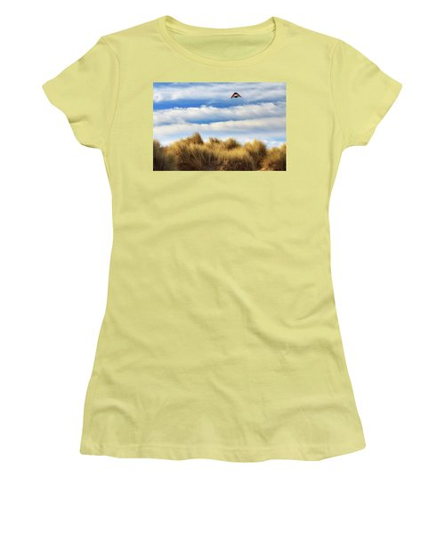 Women's T-Shirt (Junior Cut) featuring the photograph Kite Over The Hill by James Eddy