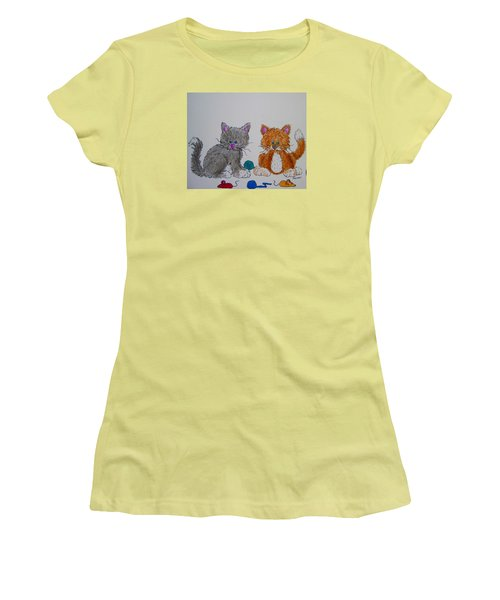 Women's T-Shirt (Junior Cut) featuring the drawing Kitt And Katt by Megan Walsh