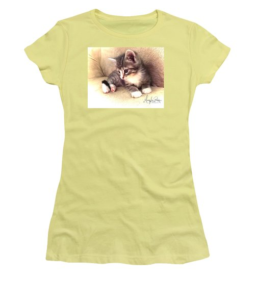 Kitten Deep In Thought Women's T-Shirt (Athletic Fit)