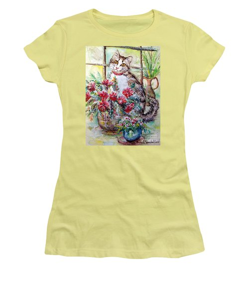 Kitty In The Window Women's T-Shirt (Athletic Fit)