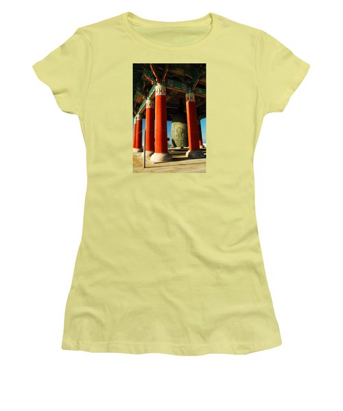 Women's T-Shirt (Junior Cut) featuring the photograph Korean Peace Bell San Pedro by James Kirkikis