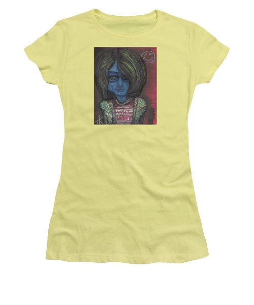 Women's T-Shirt (Junior Cut) featuring the painting Kurt Cobalien by Similar Alien