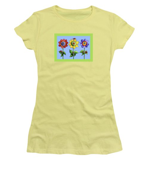 Ladybugs In The Garden Women's T-Shirt (Junior Cut) by Shelley Wallace Ylst