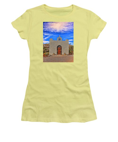 Lajitas Chapel Painted Women's T-Shirt (Junior Cut) by Judy Vincent