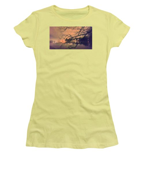 Foggy Lake At Night Through Branches Women's T-Shirt (Athletic Fit)