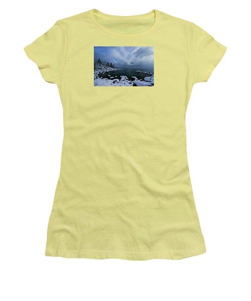 Lake Tahoe Snow Day Women's T-Shirt (Junior Cut) by Sean Sarsfield