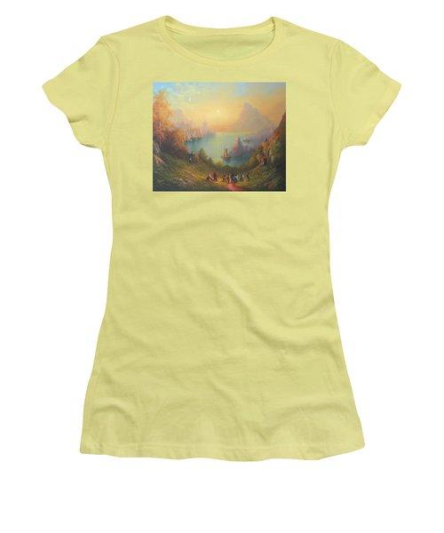 Lake Town Thirteen Dwarves And A Hobbit Named Bilbo Women's T-Shirt (Junior Cut) by Joe  Gilronan
