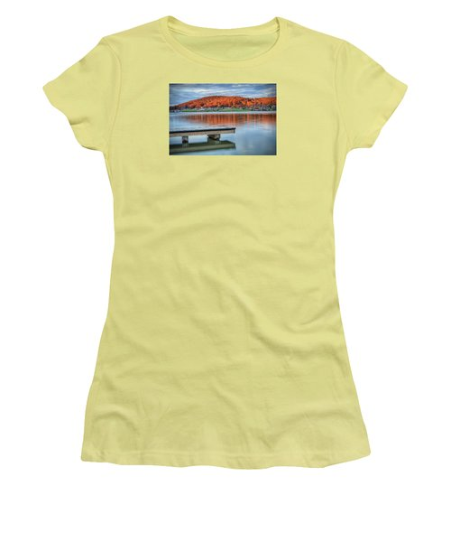 Autumn Red At Lake White Women's T-Shirt (Junior Cut) by Jaki Miller