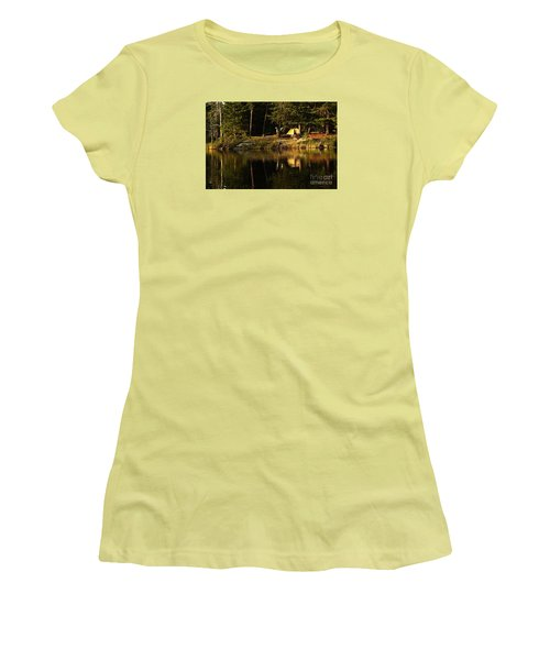 Women's T-Shirt (Junior Cut) featuring the photograph Lakeside Campsite by Larry Ricker