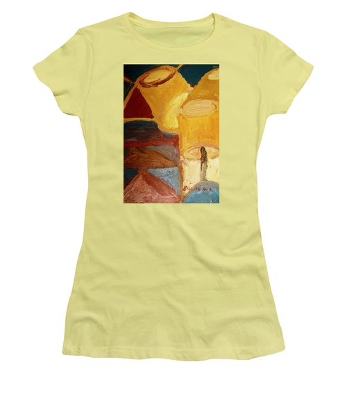 Women's T-Shirt (Junior Cut) featuring the painting Lamps In Color by Shea Holliman