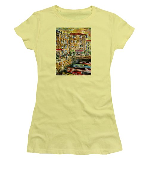 Women's T-Shirt (Junior Cut) featuring the painting Land And Water And People Therebetween by Alfred Motzer