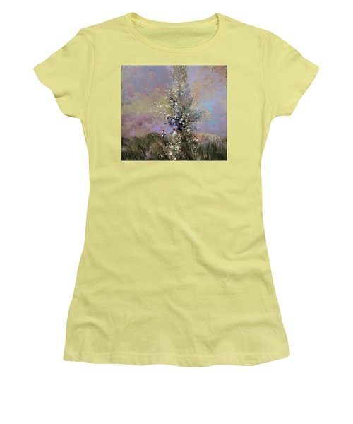 Women's T-Shirt (Junior Cut) featuring the painting Landscape . I Was Lucky Today. by Anastasija Kraineva