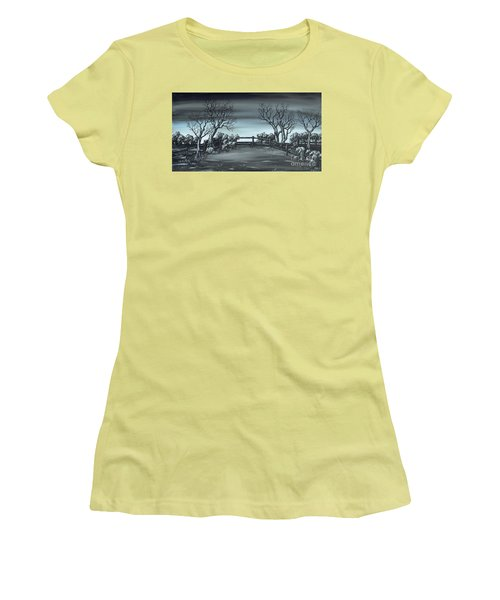 Women's T-Shirt (Junior Cut) featuring the painting Landsend by Kenneth Clarke