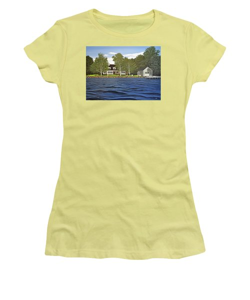 Women's T-Shirt (Junior Cut) featuring the painting Langer Summer Home Lake Simcoe by Kenneth M Kirsch
