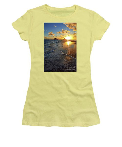 Lanikai Beach Sunrise Foamy Waves Women's T-Shirt (Junior Cut) by Aloha Art
